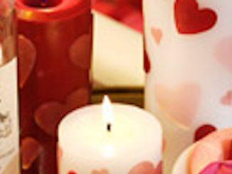 Velas decoradas para San Valentín